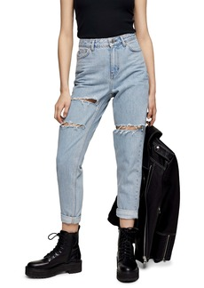 Topshop Ripped Ankle Mom Jeans