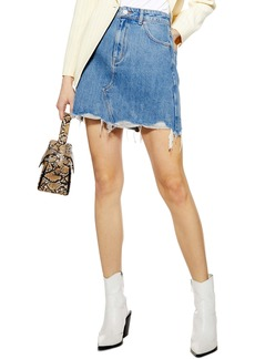 Topshop Ripped Denim Miniskirt