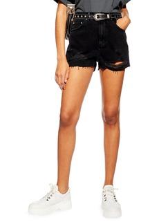 Topshop Ripped Denim Mom Shorts