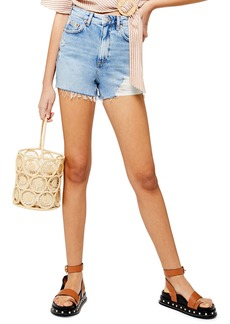 Topshop Ripped Mom Denim Shorts (Bleach)