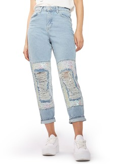 Topshop Ripped Sequin Knee Mom Jeans (Regular & Petite)