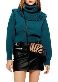 Topshop Rockit Fringe Turtleneck Sweater