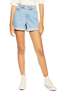 Topshop Roll Cuff Denim Mom Shorts