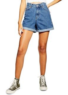 Topshop Roll Cuff Denim Mom Shorts