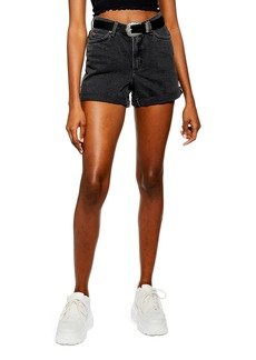 Topshop Roll Hem Denim Mom Shorts