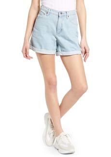 Topshop Roll Hem Mom Denim Shorts