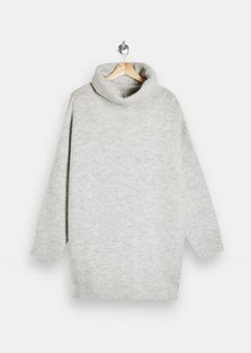 Topshop roll neck oversized knit sweater dress in gray heather
