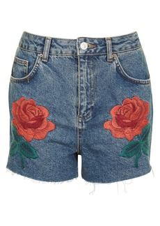 Topshop Rose Embroidered Mom Shorts