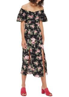 Topshop Rose Print Off the Shoulder Midi Dress