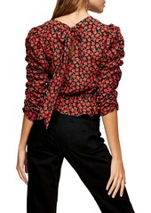 Topshop Rose Print Ruched Top