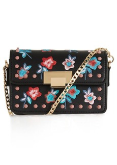 Topshop Rosie Floral Stud Faux Leather Crossbody Bag