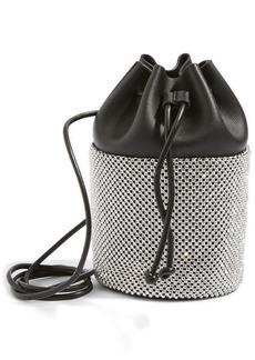 Topshop Ruben Diamante Faux Leather Bucket Crossbody Bag