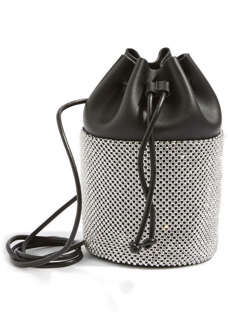 Top Ruben Diamante Faux Leather Bucket Crossbody Bag