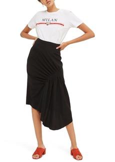 Topshop Ruched Drape Midi Skirt