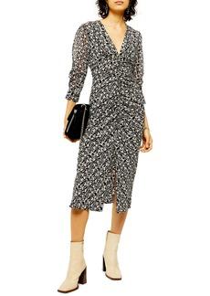 Topshop Ruched Floral Print Dress
