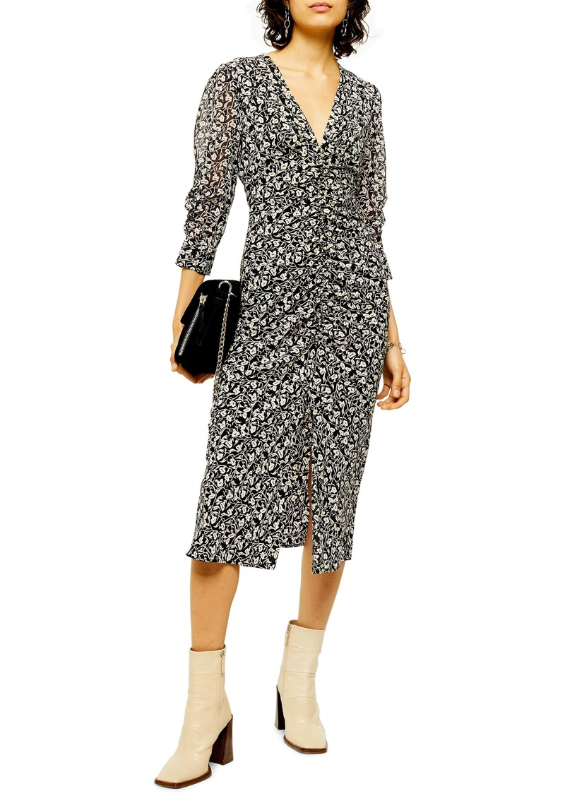 Topshop Ruched Floral Print Dress