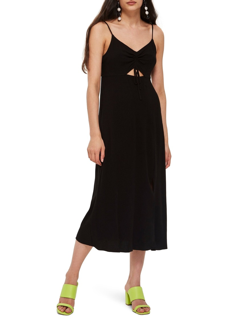 Topshop Ruched Front Midi Slipdress