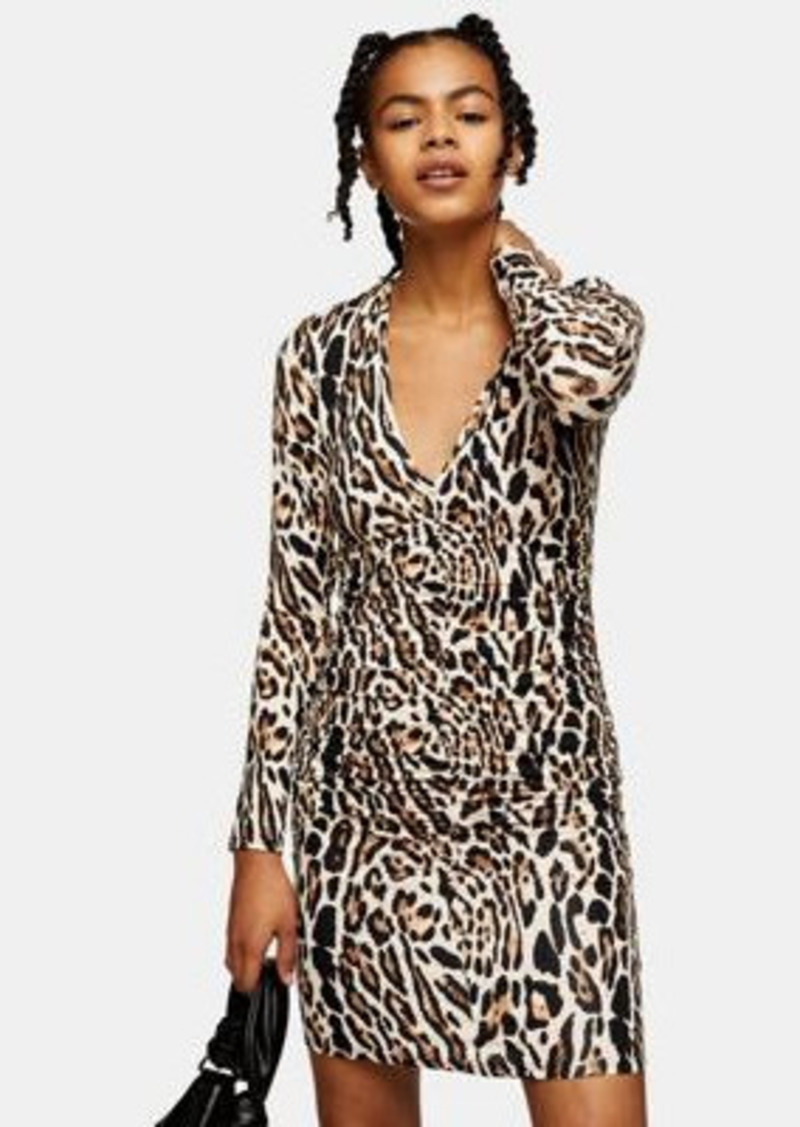 Topshop ruched front mini dress in leopard print
