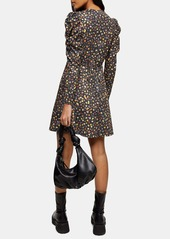 Topshop Ruched Jersey Long Sleeve Minidress