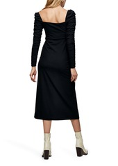Topshop Ruched Long Sleeve Midi Dress