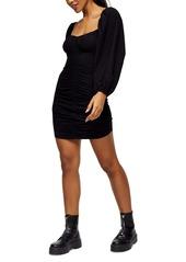 Topshop Ruched Long Sleeve Mini Tea Dress