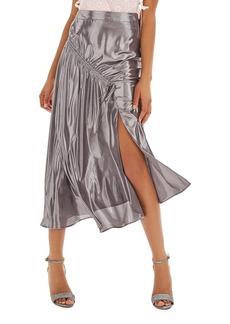 Topshop Ruched Metallic Midi Skirt