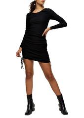 Topshop Ruched Rib Long Sleeve Minidress