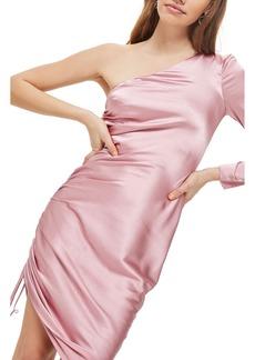 Topshop Ruched Satin One-Shoulder Dress