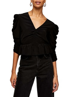 Topshop Ruched Sleeve Top