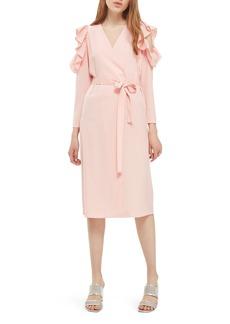 Topshop Ruffle Cold Shoulder Wrap Dress