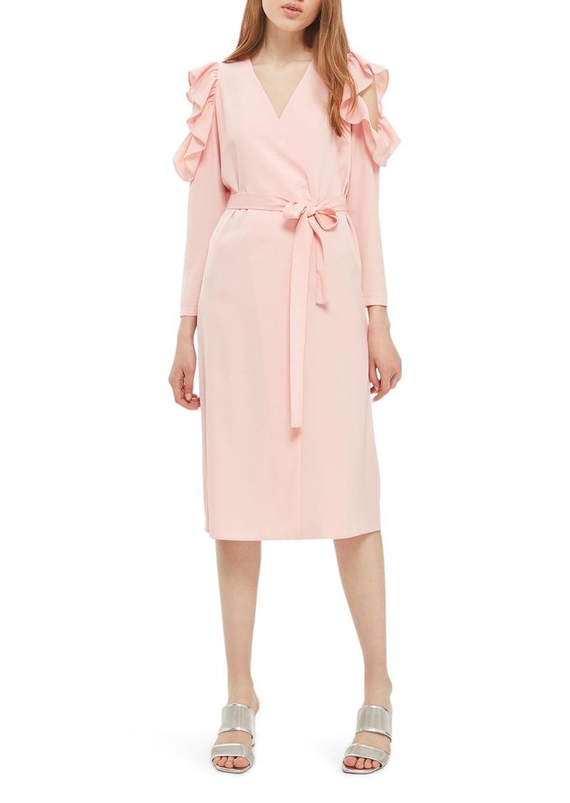 9ce77a0625 On Sale today! Topshop Topshop Ruffle Cold Shoulder Wrap Dress
