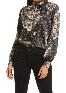 Topshop Ruffle Floral Print Blouse
