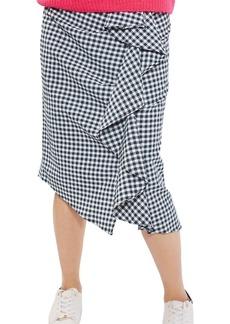 Topshop Ruffle Gingham Midi Skirt