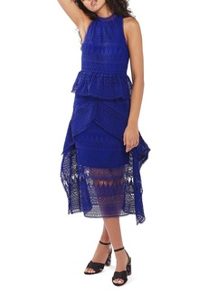 Topshop Ruffle Lace Midi Dress