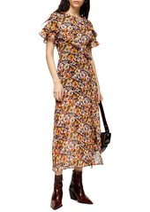 Topshop Ruffle Pansy Print Midi Dress