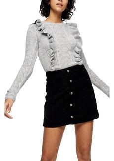 Topshop Ruffle Pointelle Crewneck Sweater