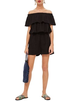 Topshop Ruffle Tiered Off the Shoulder Romper