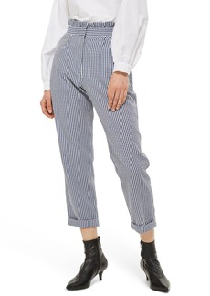 Topshop Ruffle Waist Gingham Trousers