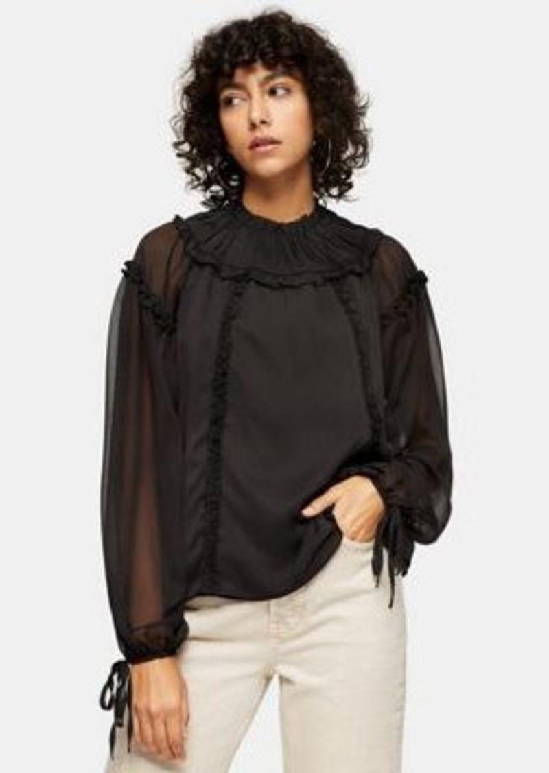 Topshop ruffle yoke blouse in black