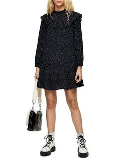 Topshop Ruffle Yoke Long Sleeve Minidress
