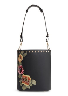 Topshop Sadie Floral Faux Leather Bucket Bag