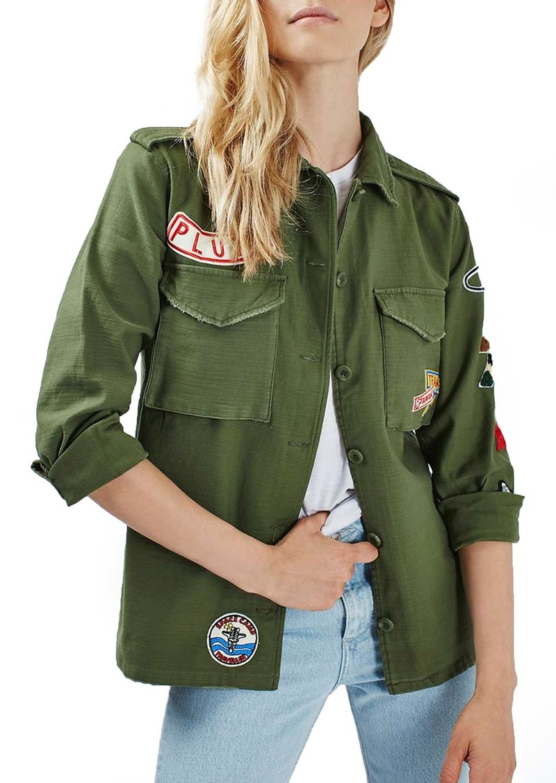 Topshop 'Sandy' Badge Shirt Jacket (Regular & Petite)