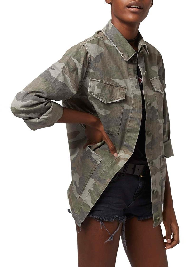Topshop Topshop Sandy Camo Print Shirt Jacket Regular Petite