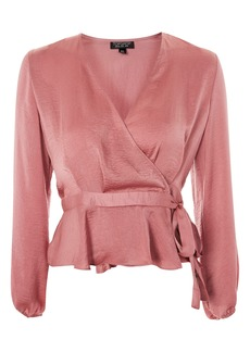 Topshop Satin Blouson Sleeve Wrap Blouse