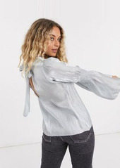 Topshop satin ruched sleeve blouse in ice blue