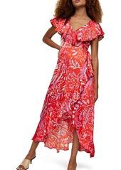 Topshop Satin Ruffle Wrap High/Low Dress