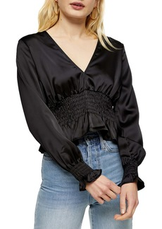 Topshop Satin Shirred Waist Blouse
