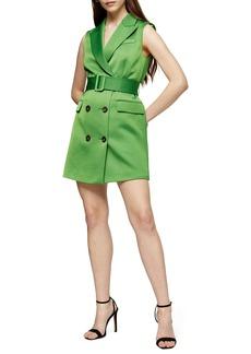Topshop Satin Sleeveless Blazer Dress
