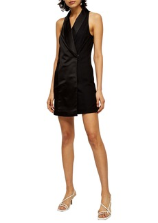 Topshop Satin Tux Minidress