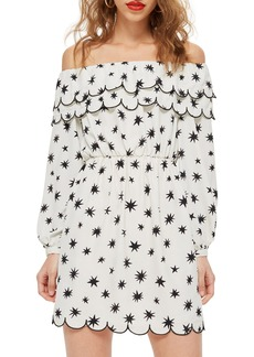 Topshop Scallop Star Off the Shoulder Dress